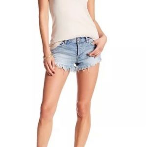 FREE PEOPLE Distressed and Frayed Denim Shorts